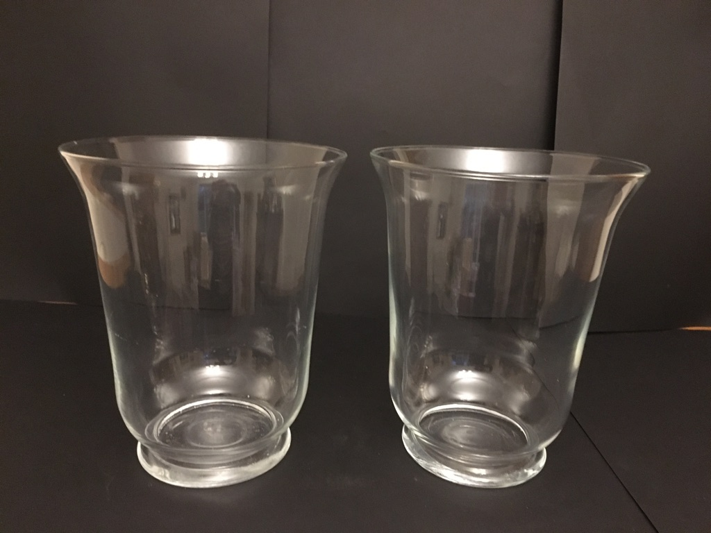 4 glass hurricane lamps