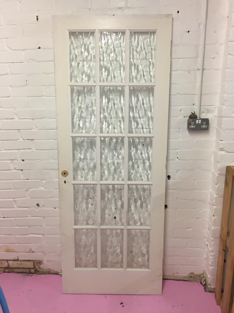 White glass panel French door