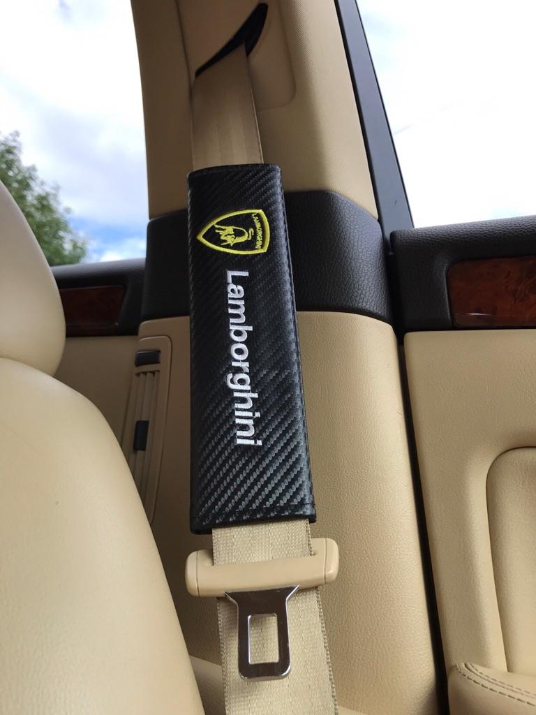 2X Seat Belt Pads Carbon Gift Lamborghini Gallardo Huracan Aventador LP Supersport Turbo