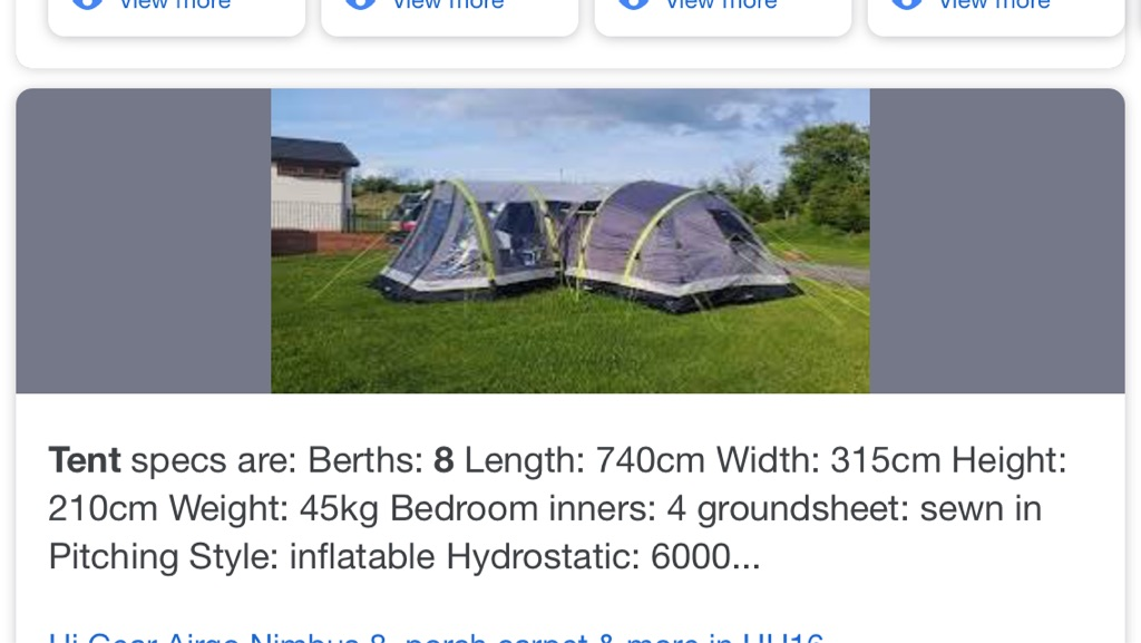 Large nimbus 8 tent