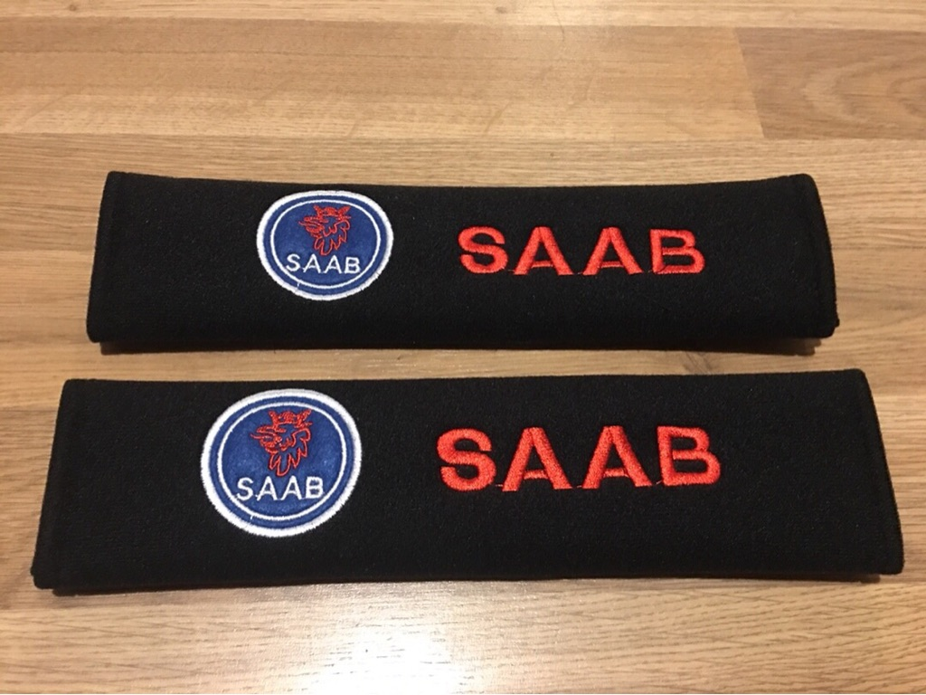 2X Seat Belt Pads Gift Saab Vector 9-3 X I 93 9-5 95 900 9000 Aero Linear Sport