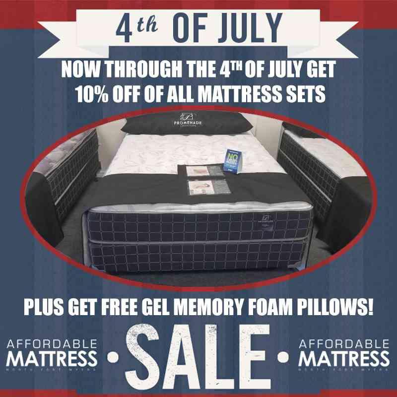 4th of July sale 10% off sets plus free Gel-Memory Foam Pillows