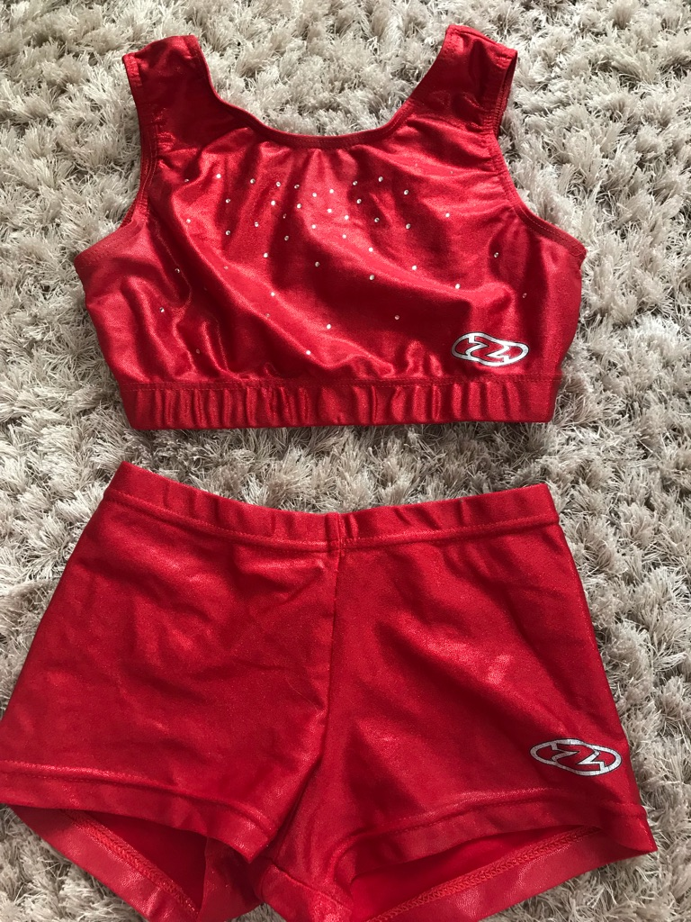 Red Zone gymnastics/dance crop top and shorts set