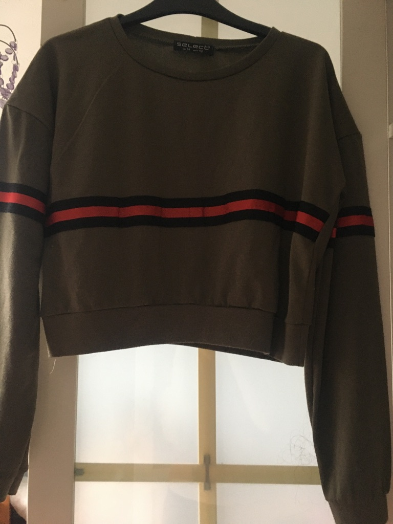 Select green long sleeve top with black and red stripes