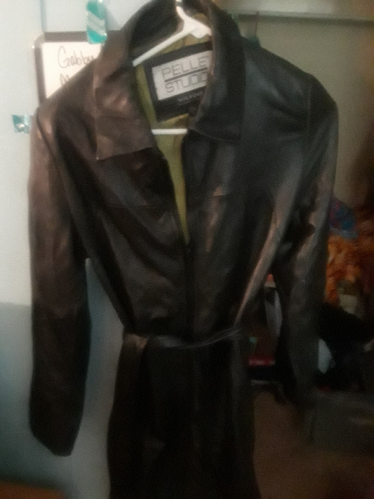 Genuine leather trench