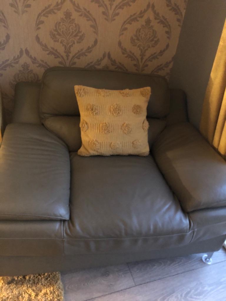 Grey corner leather suite