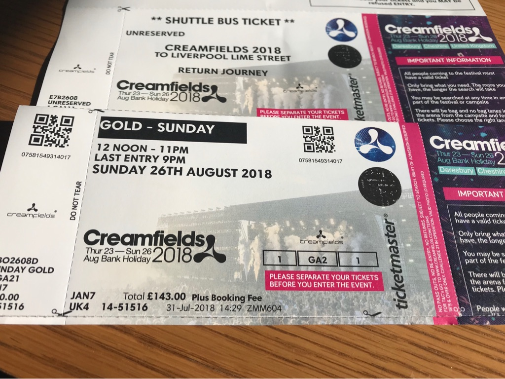 Creamfields Sunday Gold Ticket + Shuttle Bus