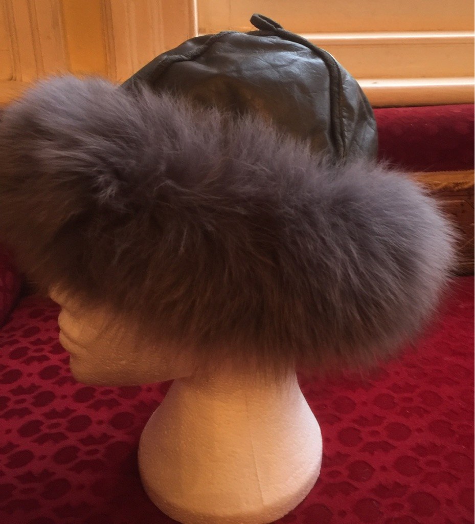 Real leather and fur hat