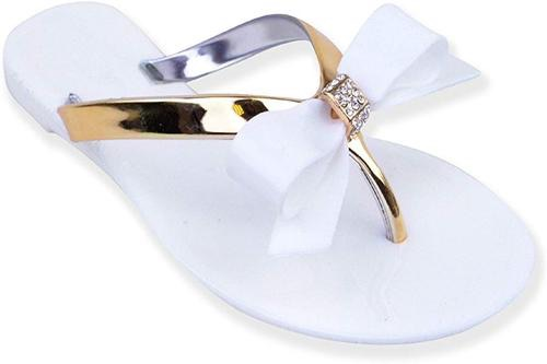 Fashion thirsty jelly flip flops with bow- white & gold