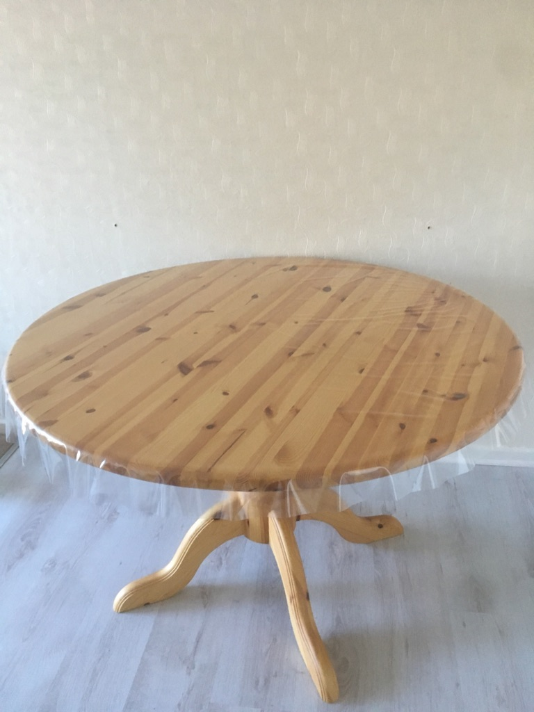 Large round pine table