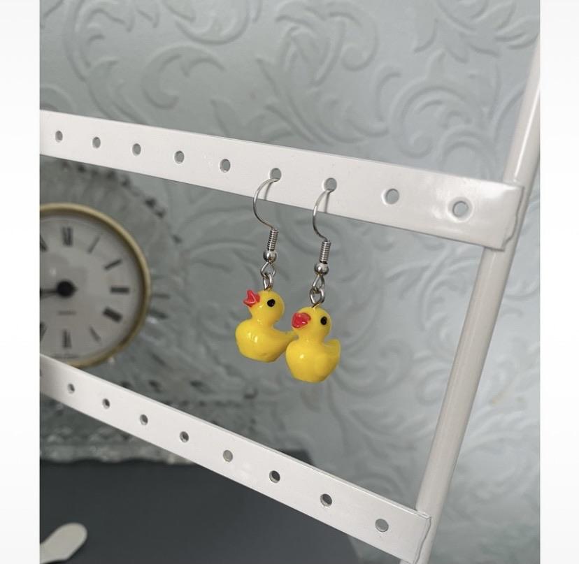 Yellow duck earrings