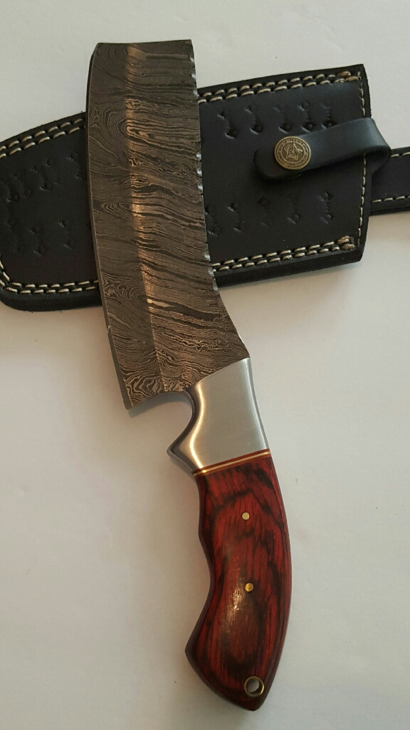 Custom handmade Damascus steel blade cleaver
