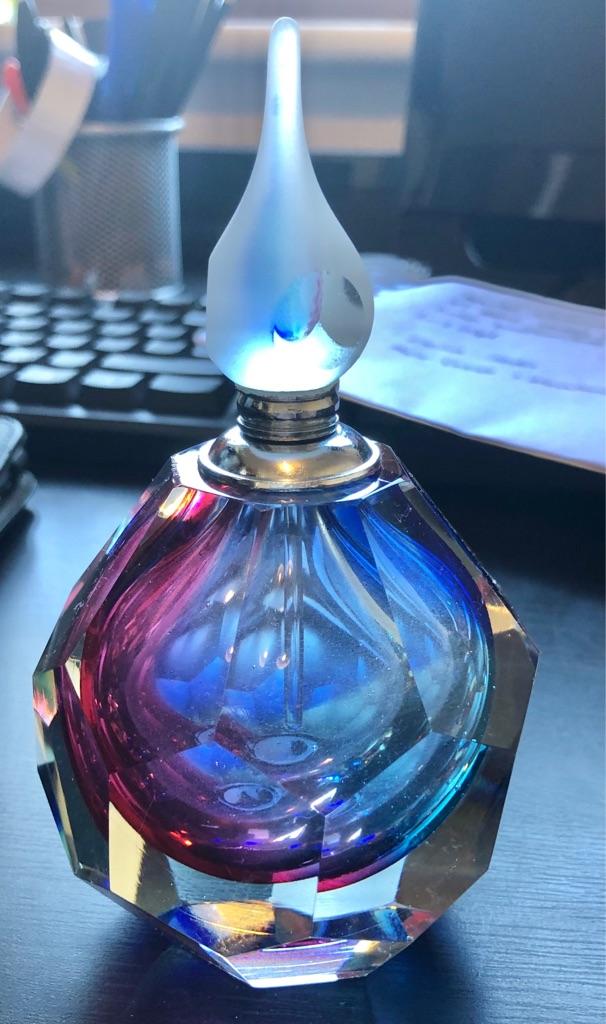MULTI COLOURED GLASS PERFUME BOTTLE
