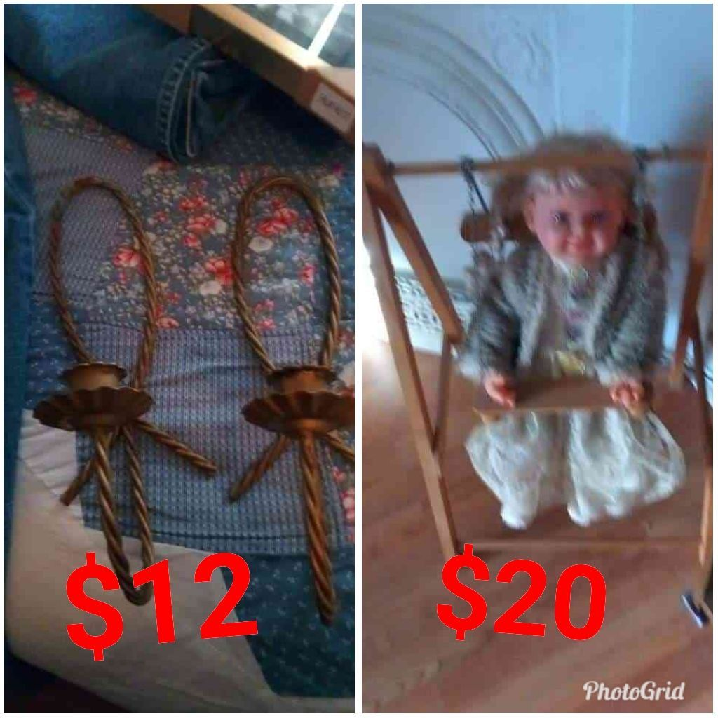 Candle holders and doll