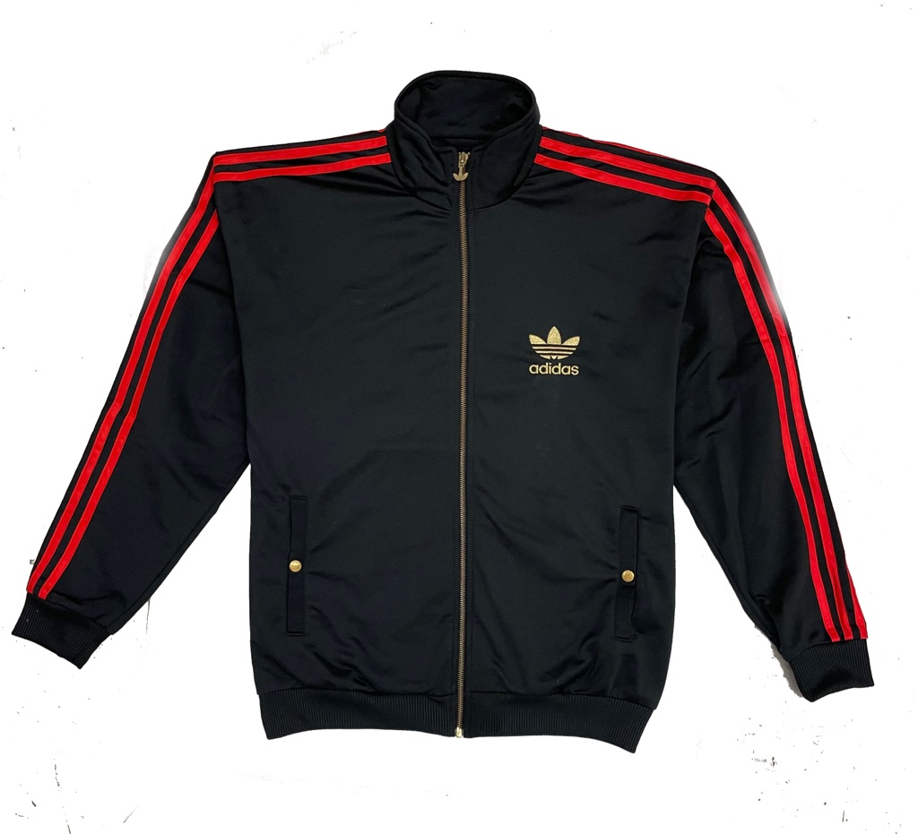 RARE Vintage Adidas Black Track Jacket with red 3 Stripe and gold