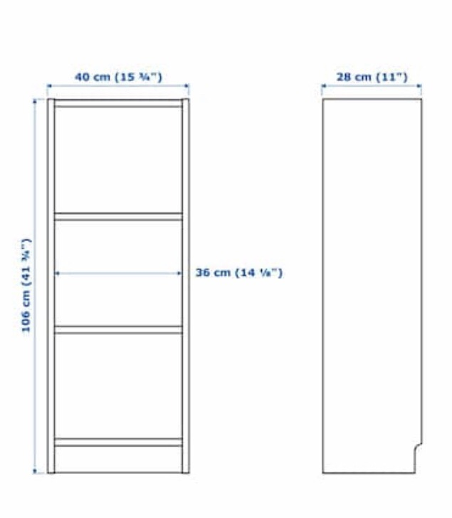 Ikea Billy bookcase with shelves x2
