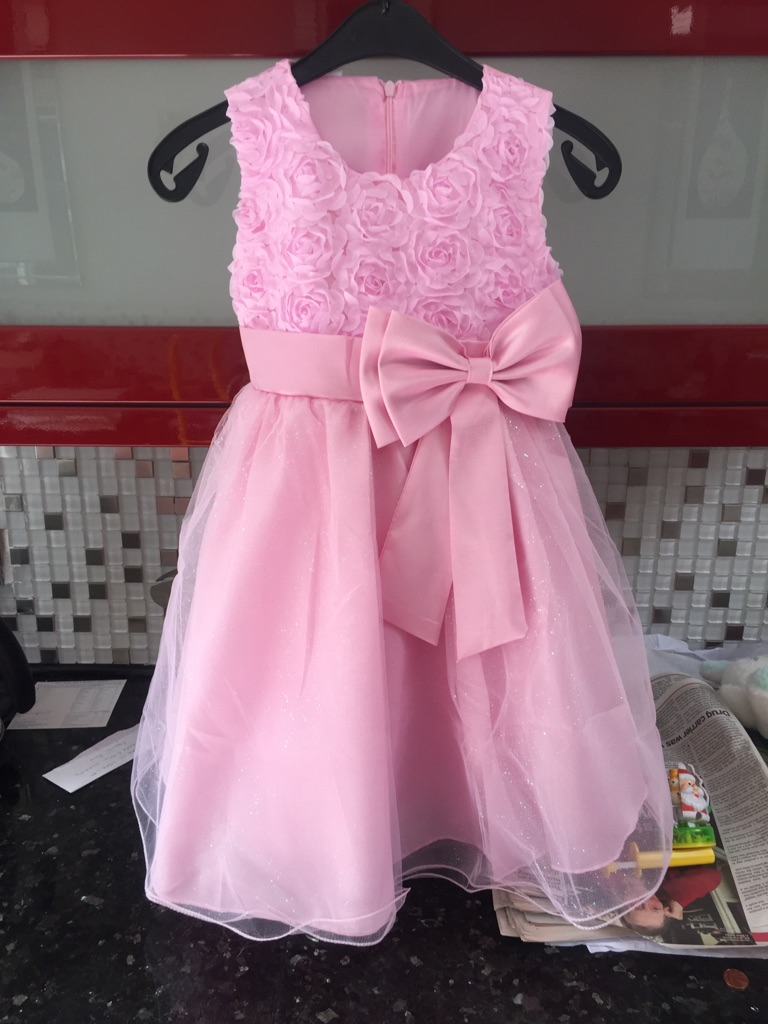 2 beautiful girls party dresses age5/6 plus 2 pairs of party shoes size 11/ 13