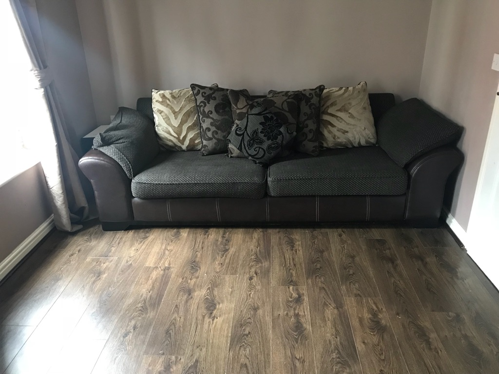 4 seater sofa with cuddle chair and foot stool