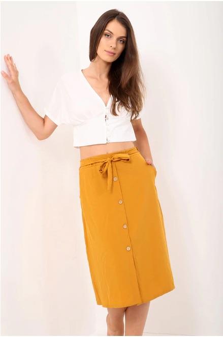 Tie Waist Button Detail Skirt