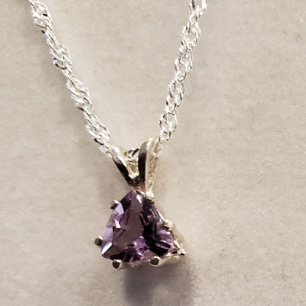 Natural Trillion Amethyst Necklace