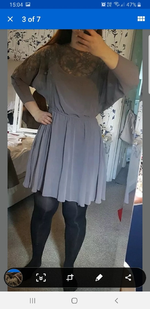 Asos Size 10 Grey dress with lace