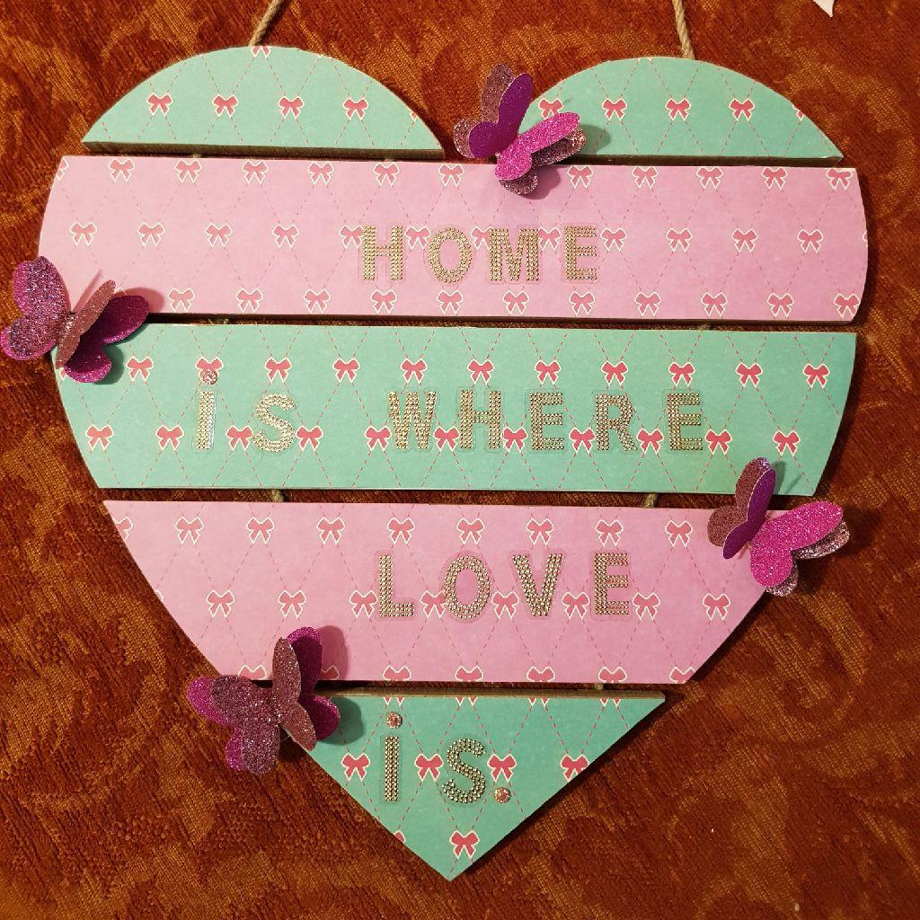 Wooden heart hanging plaque