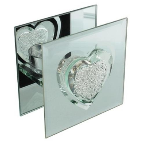 Hestia glass and mirror single tealight holder crystal heart