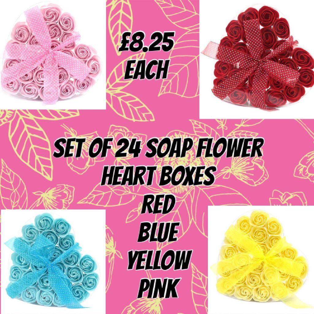 Set of 24 soap flower heart boxes