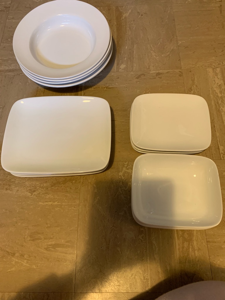 New square dinner service and pasta bowls