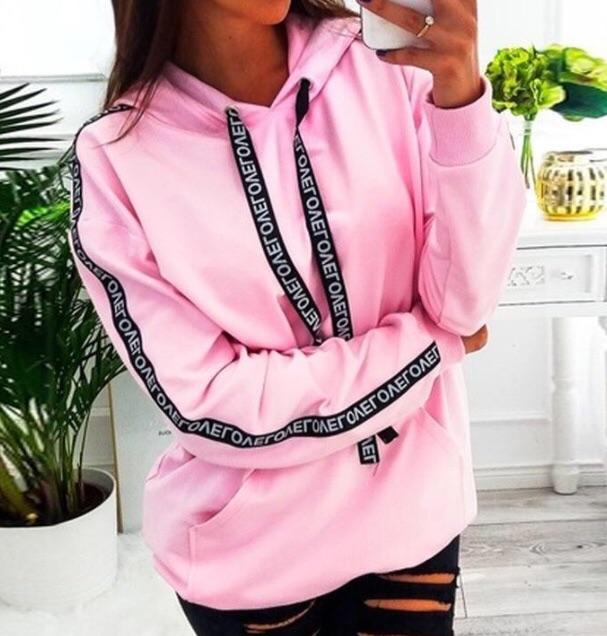 Long sleeve solid colour hooded sweatshirt