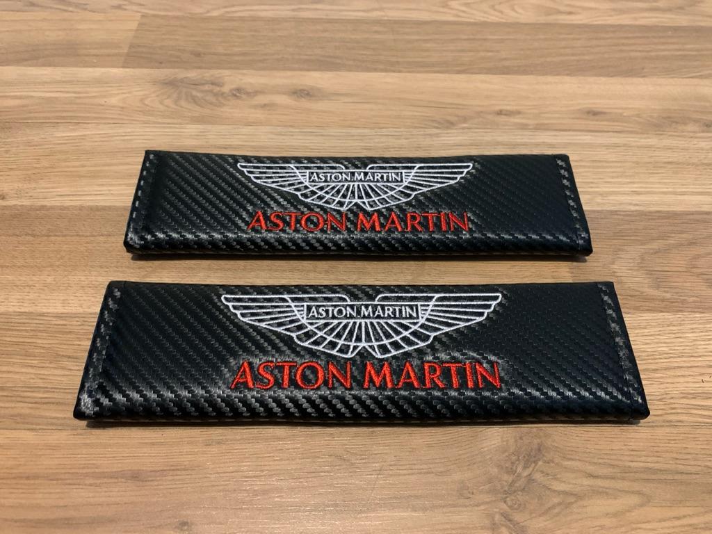 2X Seat Belt Pads Carbon Aston Martin Vanquish Vantage DB7 9 11 DBS DBX AMR Valhalla Rapide Superleggera DB Valkyrie