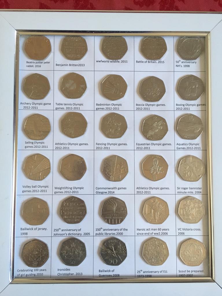 50p coins set of 30 mix coins