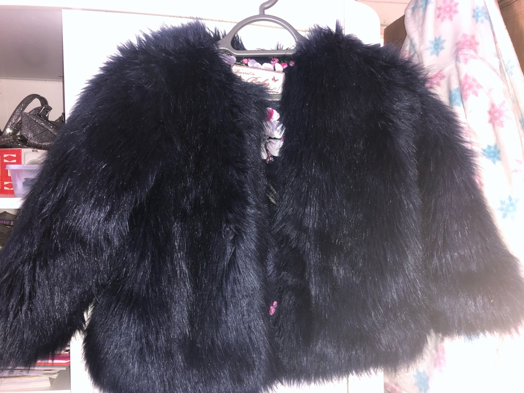 Girls navy ted baker fur coat age 7