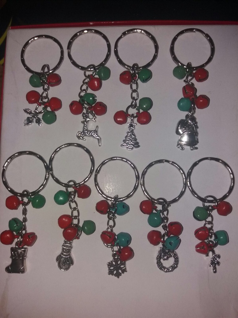 10 Xmas charm jingle bells keyrings
