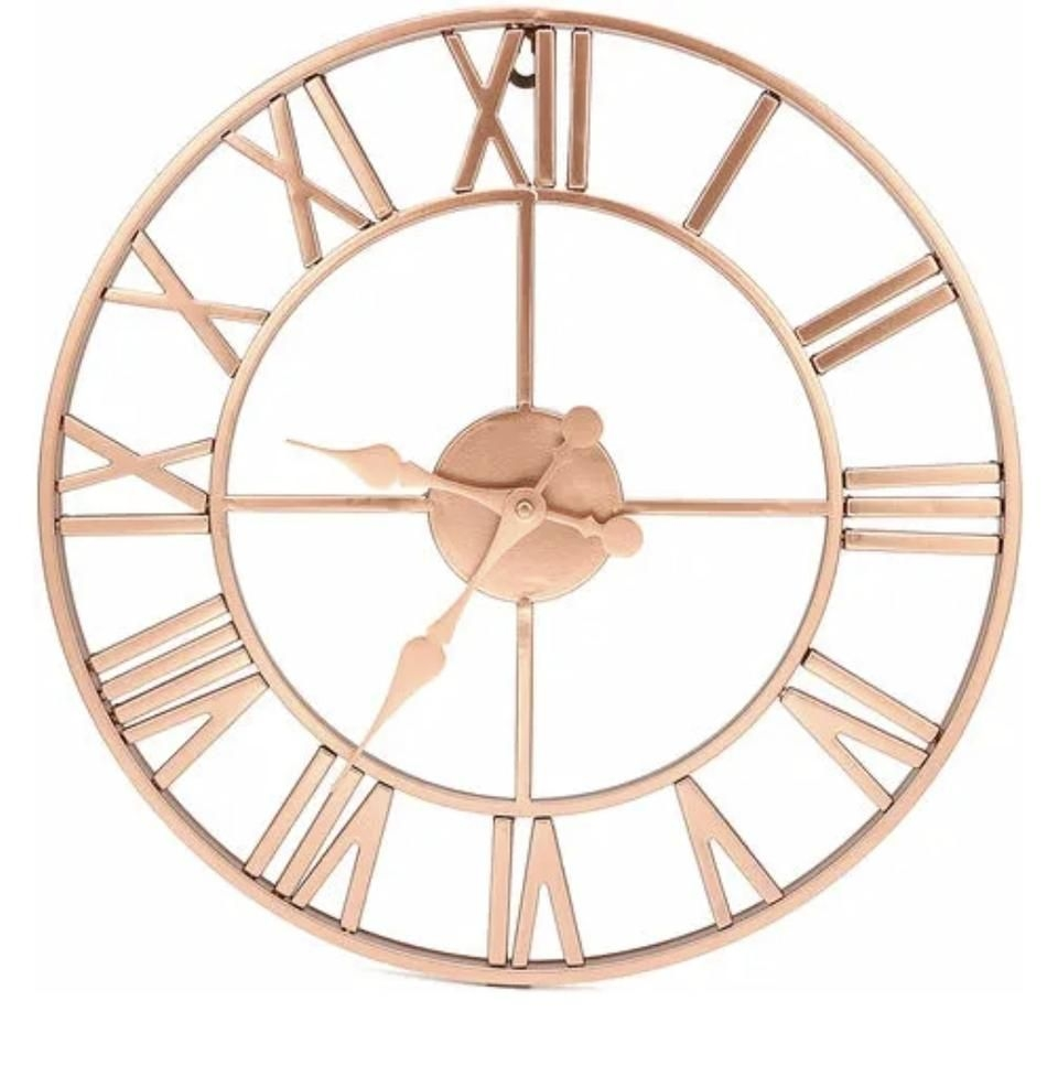 ROSE GOLD METAL SKELETON WALL CLOCK ROMAN NUMERALS 40CM BATTERY NOT INCLUDED