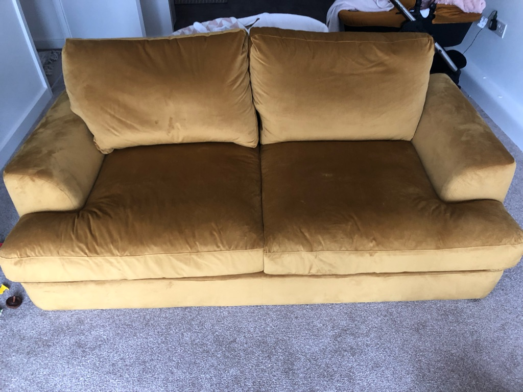 2 seater velvet sofa (mustard)