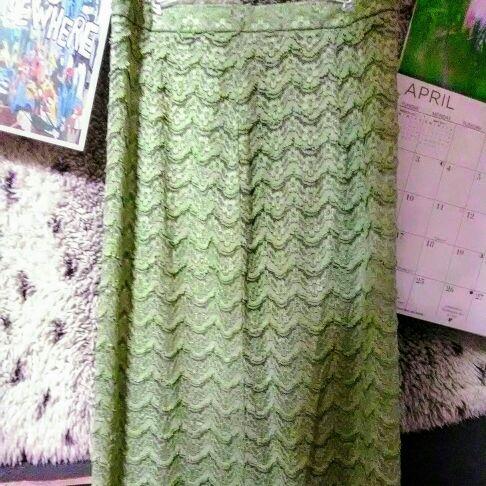 Light green long summer skirt