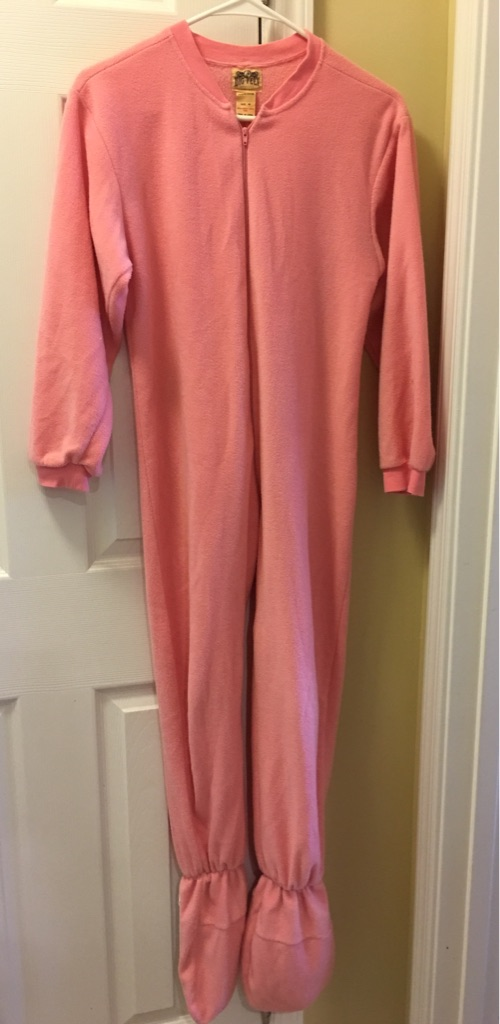 Girl's Pink fleece onesie pajamas, size 10-12