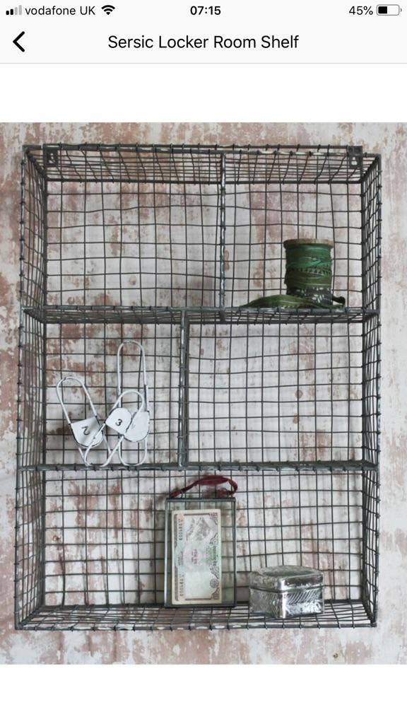 Wire shelf unit, locker room style