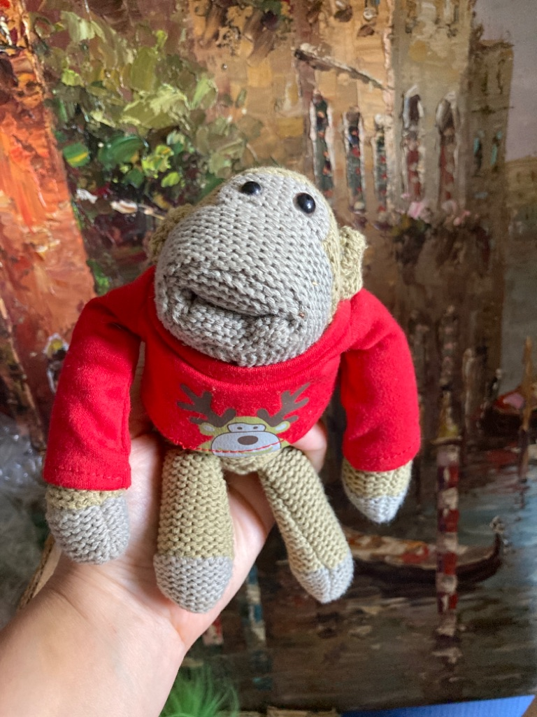 GP bags monkey knitted soft toy happy Christmas
