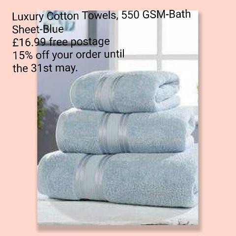 Luxury Cotton Towels, 550 GSM-Bath Sheet-Blue £16.99 free postage.