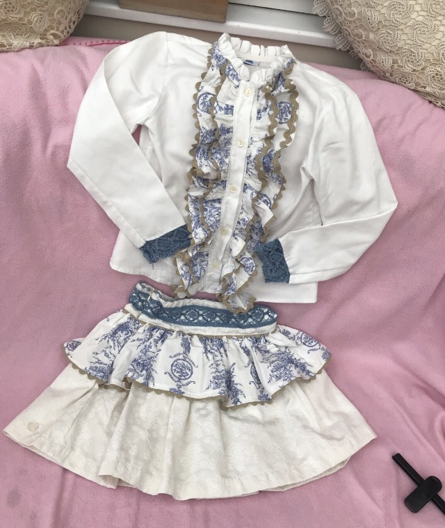 White and blue beautiful top and skirt