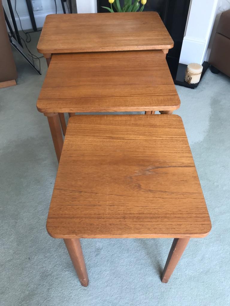 Mid century oak nest tables