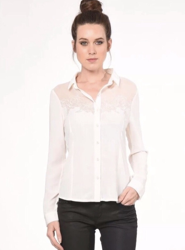 BNWT £60 Kaporal Jeans Paris Embroidered White Shirt