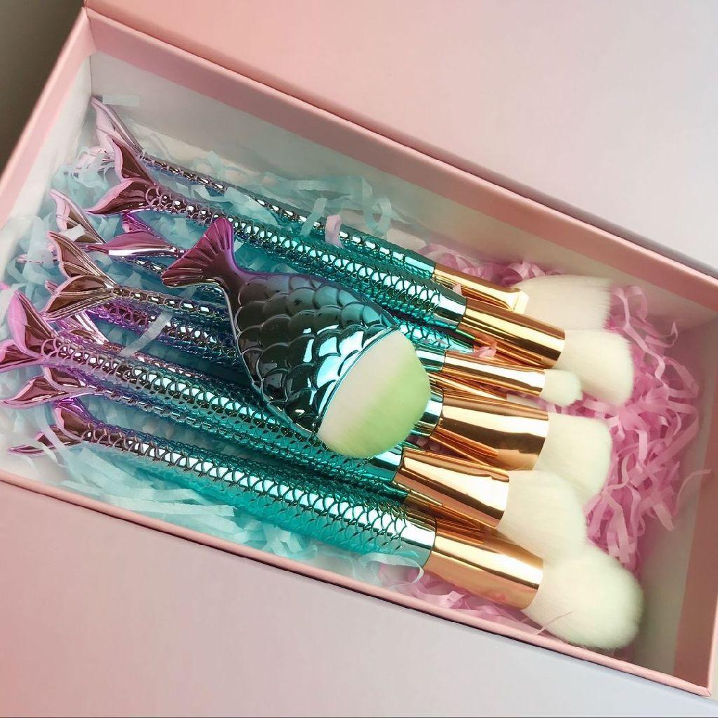 11pcs Fishtail Mermaid Purple-Green Face & Eye Makeup Brush Set + Gift Box