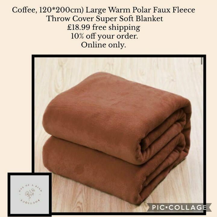 Coffee, 120*200cm) Large Warm Polar Faux Fleece Throw Cover Super Soft Blanket