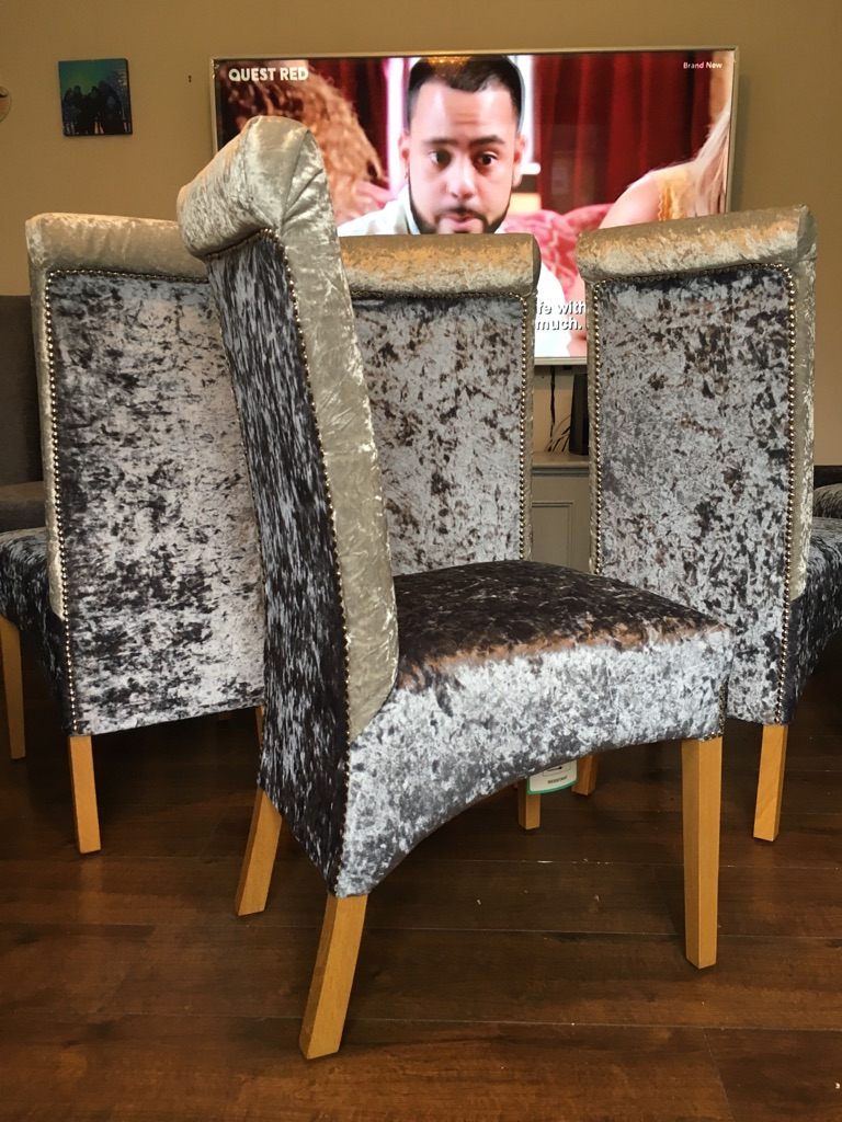 4 two tone chairs in silver and slate grey crushed velvet