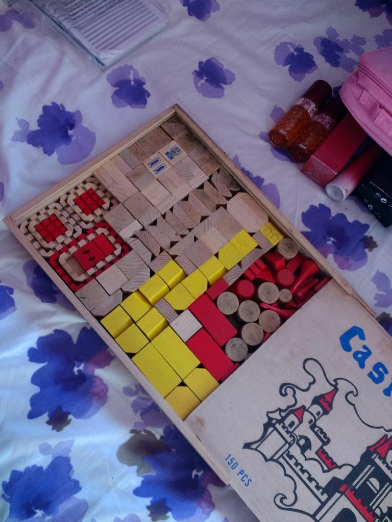 Castle blocks and strawberry shortcake lunch box