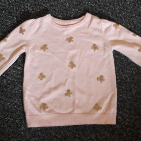 Girls pink jumper with gold bow detail age 2/3 years