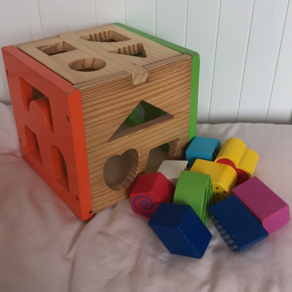 Wooden baby shape sorter box